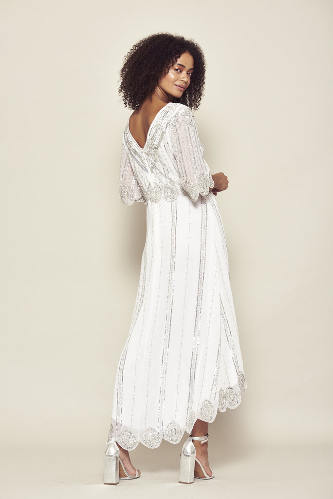 Frock and Frill Daevy White Dipped Hem Embellished Midi Midaxi Dress with Elbow Length Sleeves