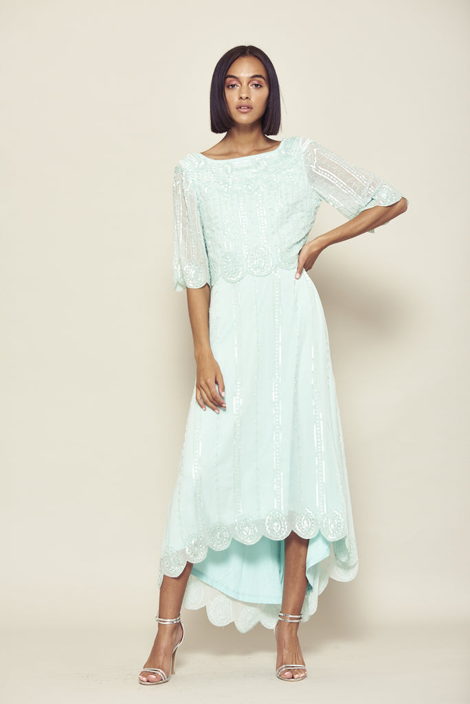 Vintage inspired midaxi dress with scalloped hem