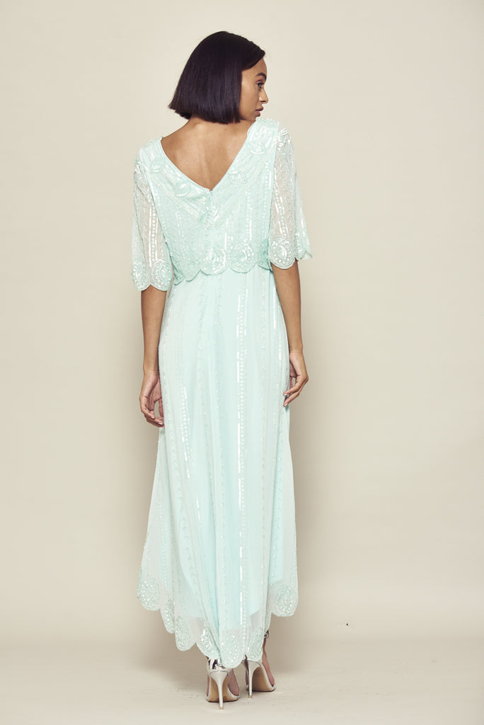 Frock and Frill Daevy Duck Egg Blue Green Dipped Hem Embellished Midi Midaxi Dress with Elbow Length Sleeves