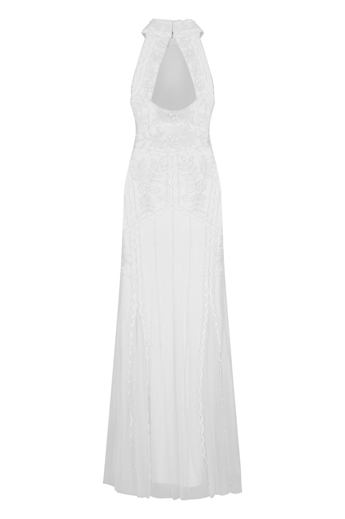 Frederica Embellished Halter Neck Maxi Dress
