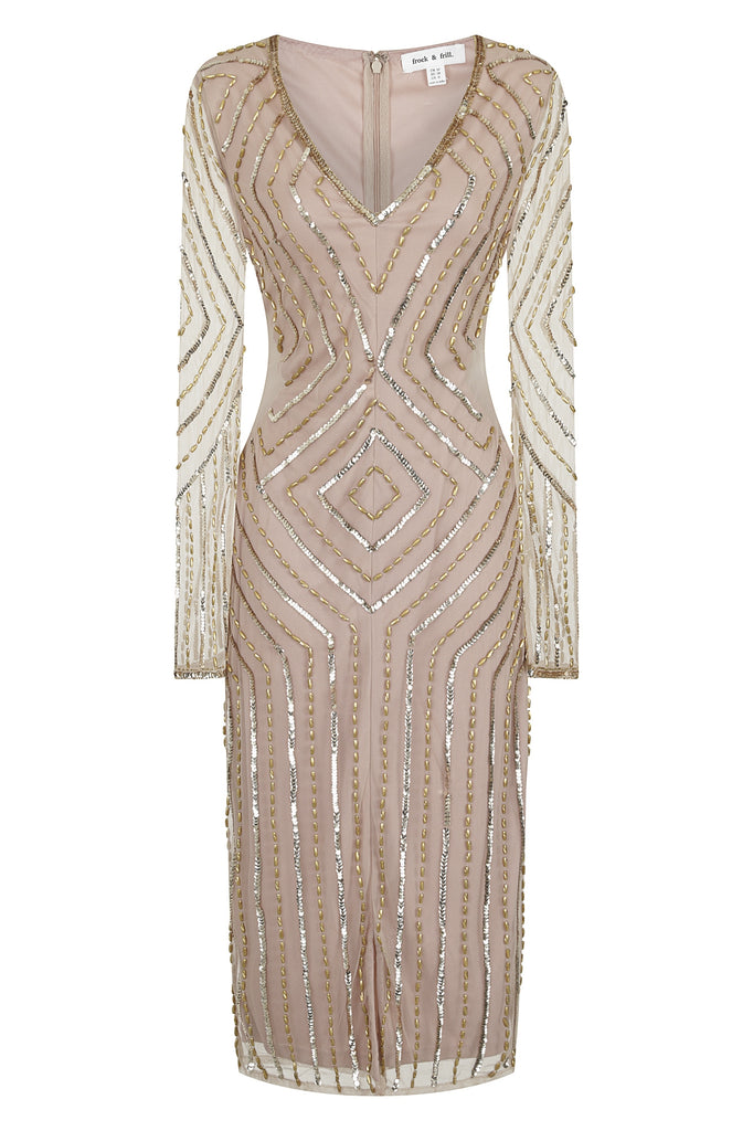 Hensley Embellished V Neck Midi Dress
