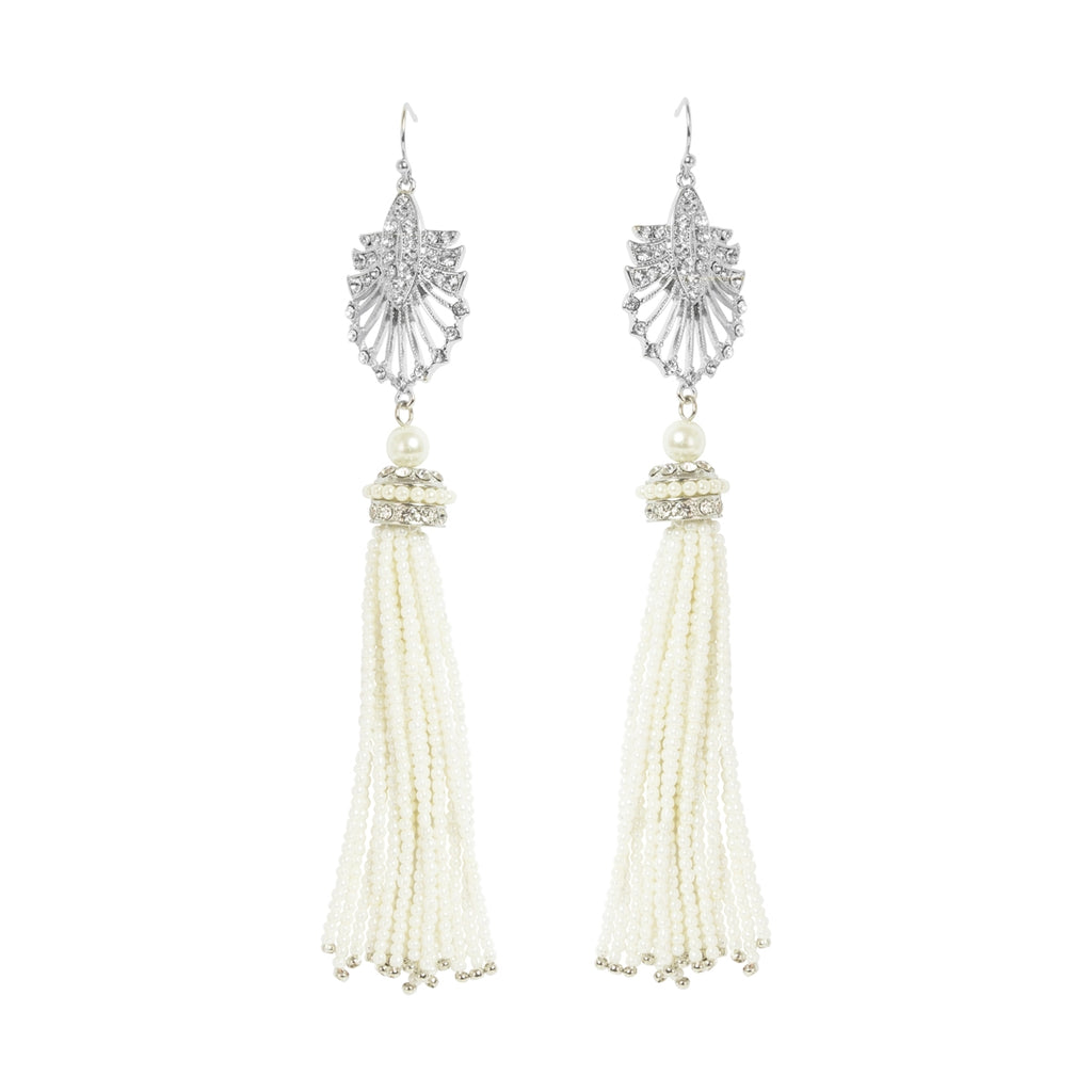 Lovett and Co. Deco Statement Pearl Tassel Earrings