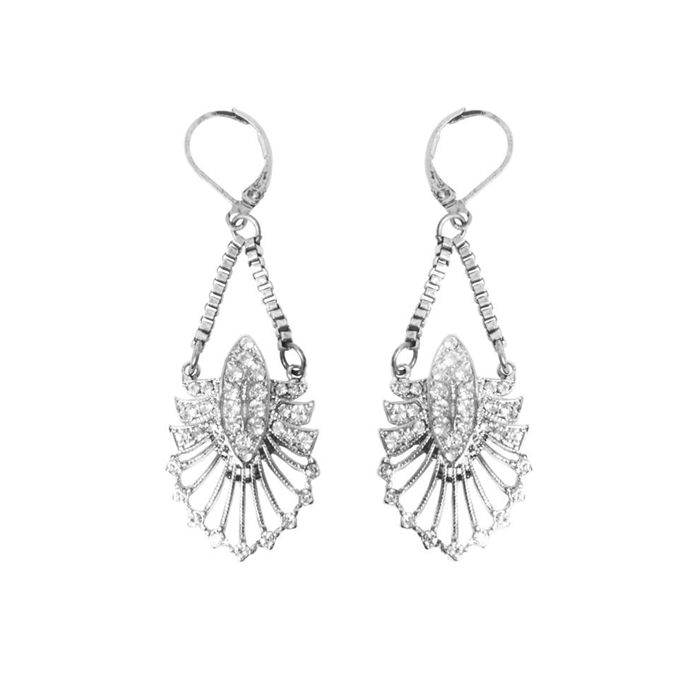 Lovett and Co. Deco Statement Drop Earrings with Box Chain Silver