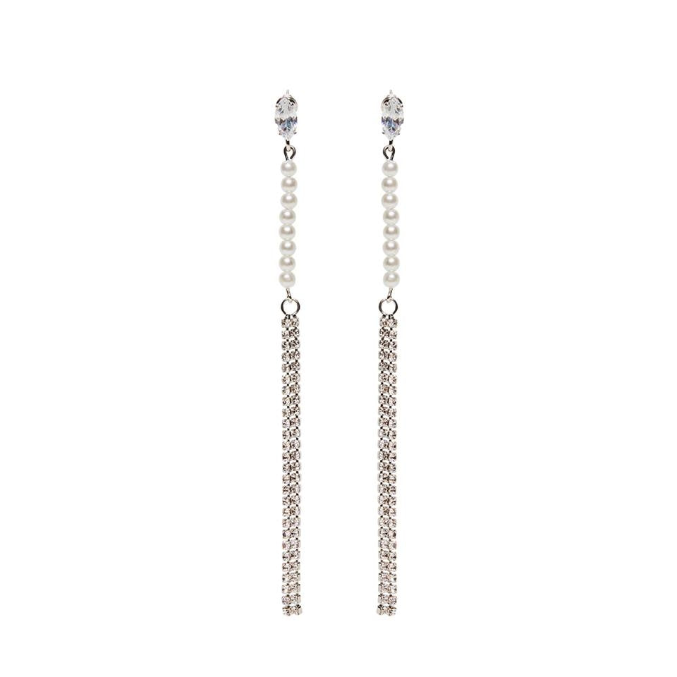 Crystal Pearl Long Drop Earrings Silver