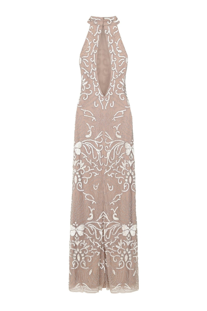 Hope Embellished Halter Neck Maxi Dress