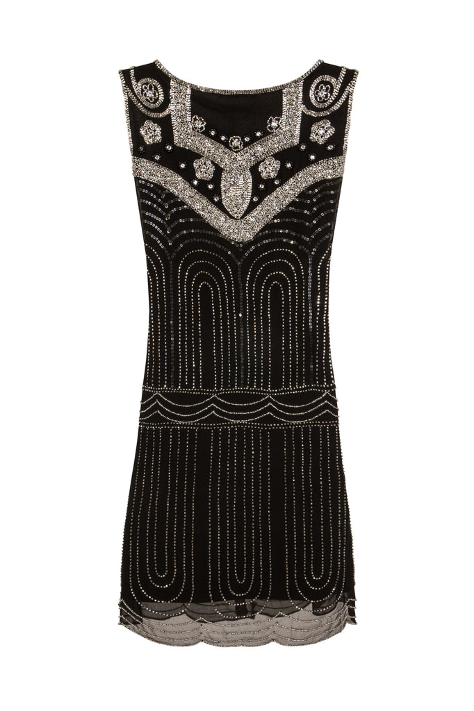 Annalise Black and Silver Deco Dress