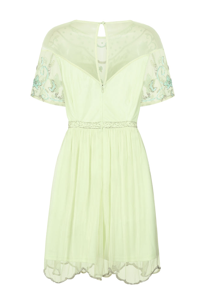 Yalena Skater Dress Green