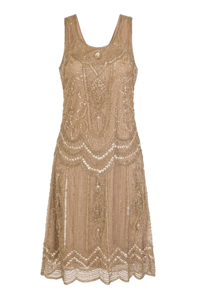 Ziegfeld Embellished Dress Gold Mono