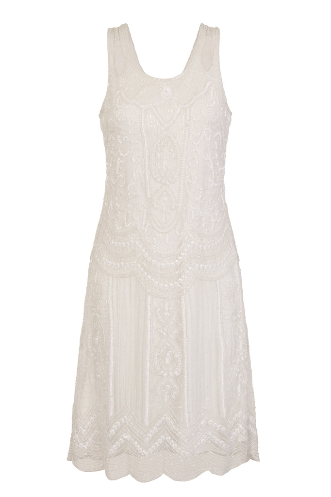 Ziegfeld Embellished Dress White Mono