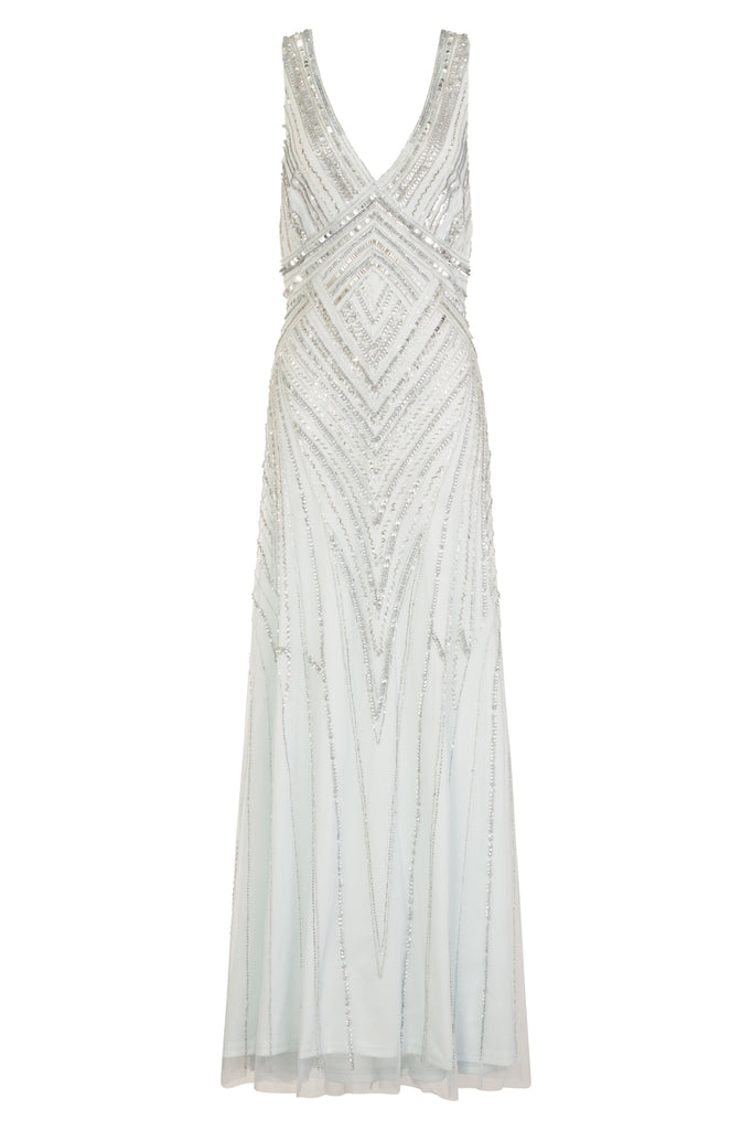 Teona Sequin Light Blue Maxi Dress