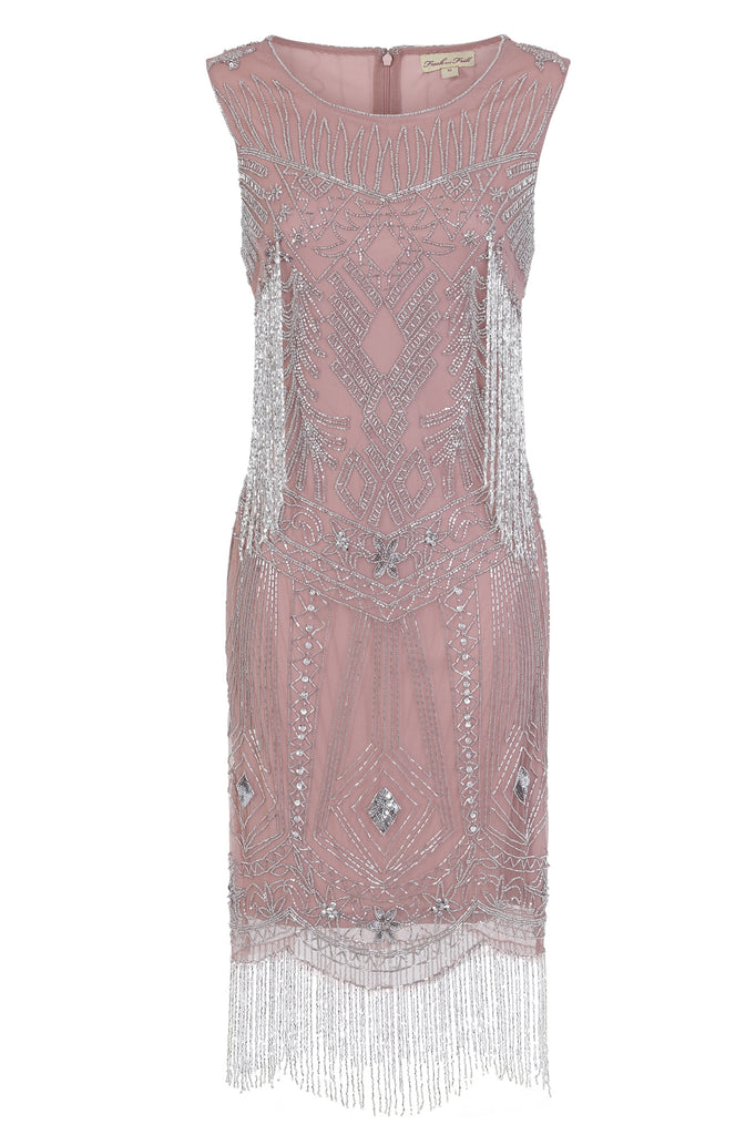 Faylinn Embellished Flapper with Beaded Fringe