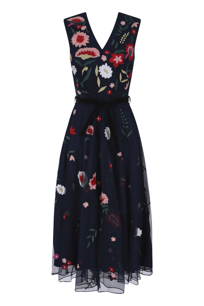 Gemima Embroidered Floral Midi Dress