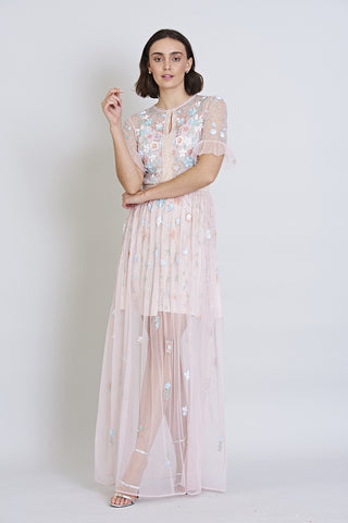 Fillippa Short Sleeve Embellished Maxi Dress