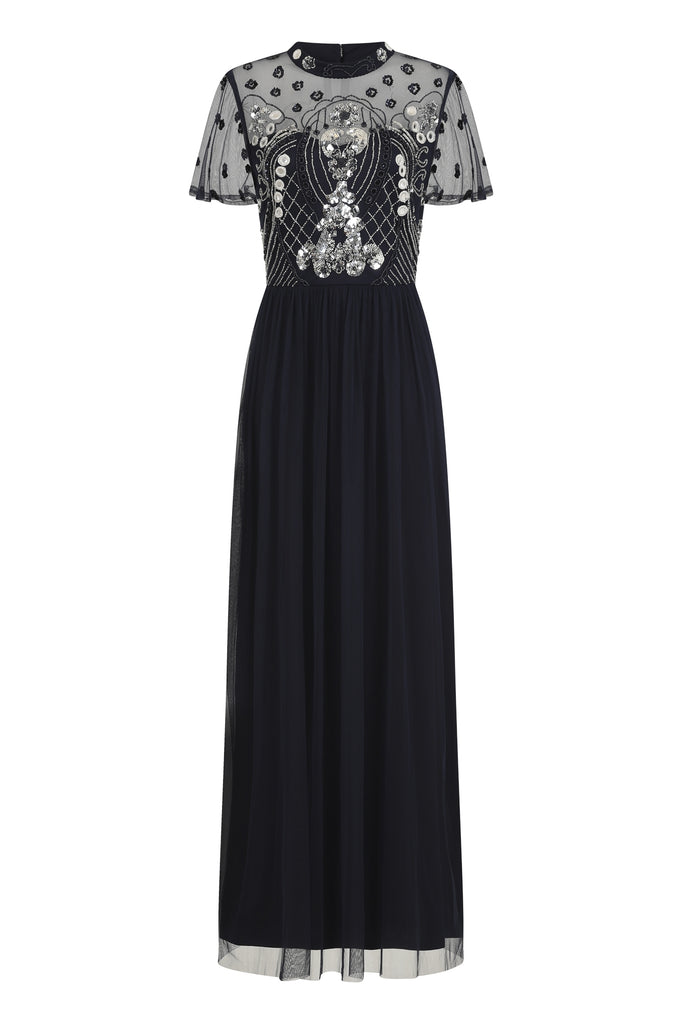 Haddie Short Sleeve Embellished Maxi Dress