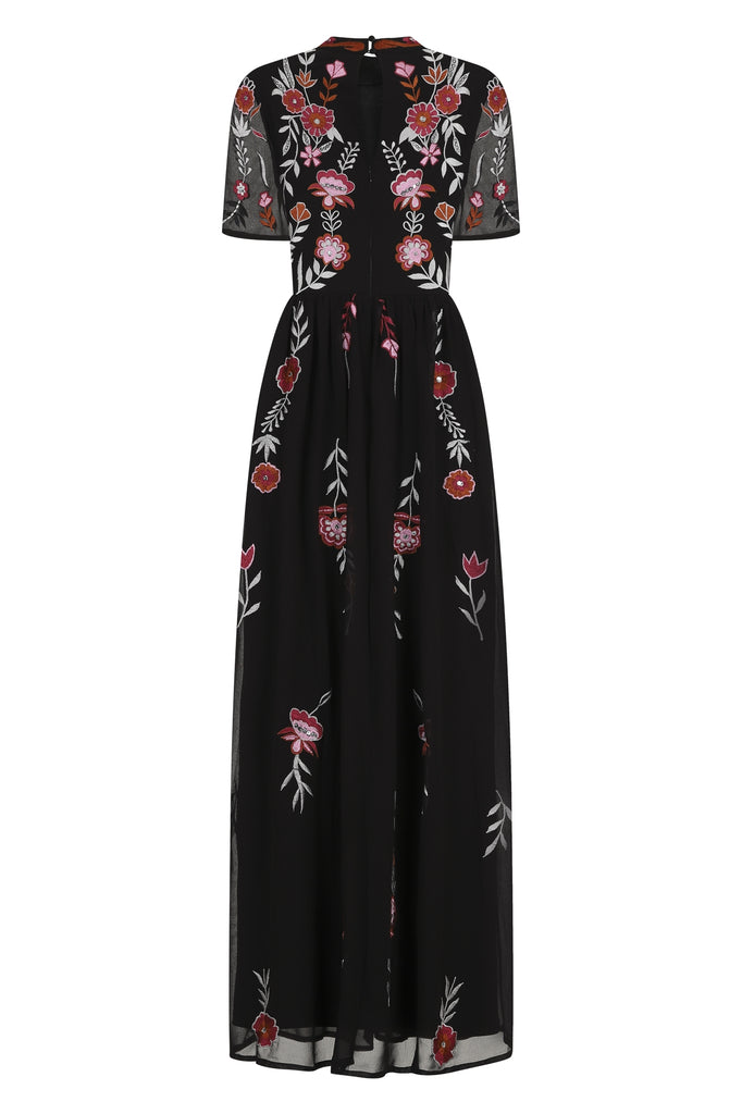 Gilana Short Sleeve Embroidered Maxi Dress