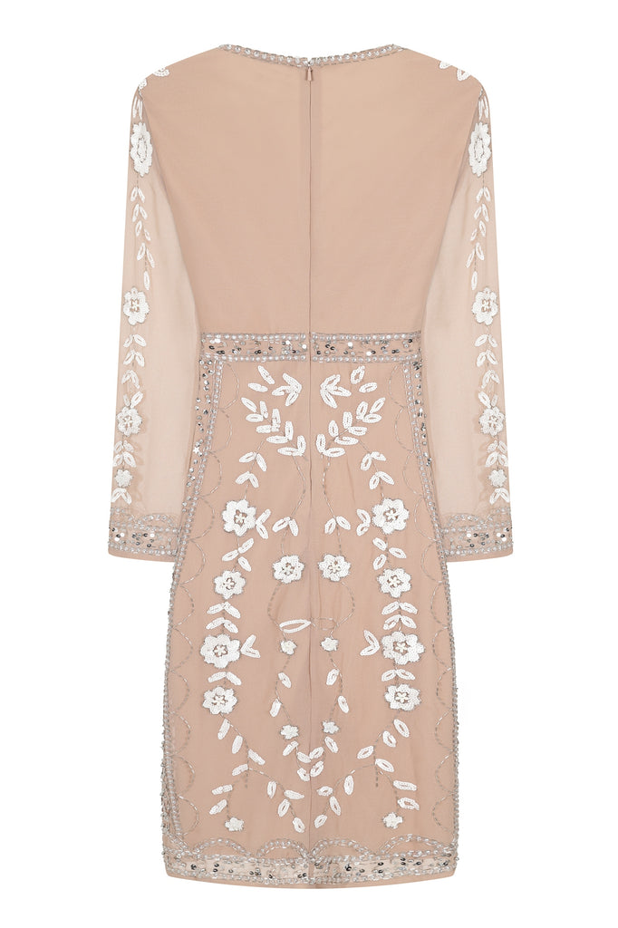 Harper Blush Nude Embellished V-Neck Midi Dress