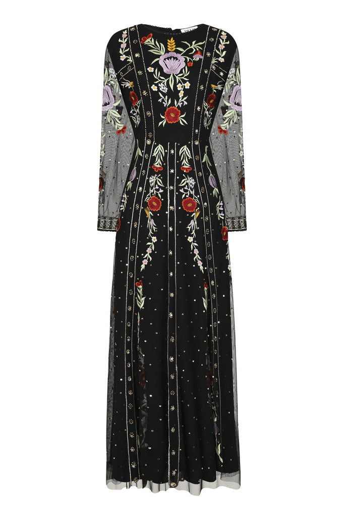 Heather Embroidered Long Sleeve Maxi Dress