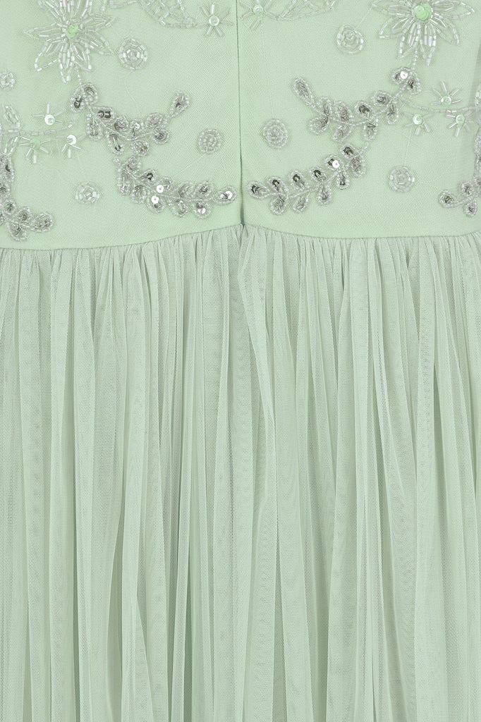 Chloe Glacier Green Fit and Flare Detailed Top Maxi Dress
