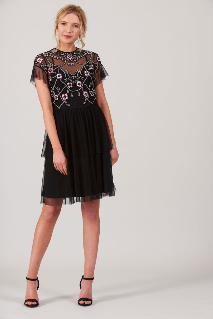 Caily Overlay Fit and Flare Dress