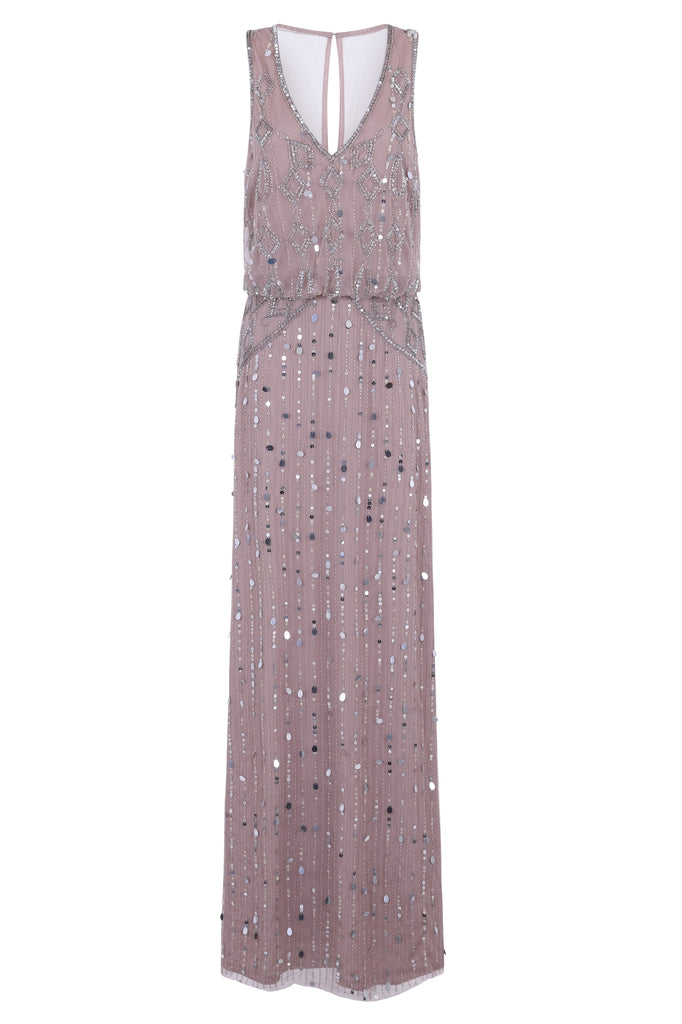 Gabi Blush Pink V Neck Embellished Maxi Dress
