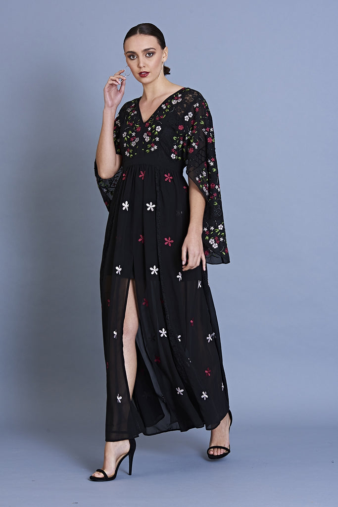 Glenda Cape Sleeve Embroidered Maxi
