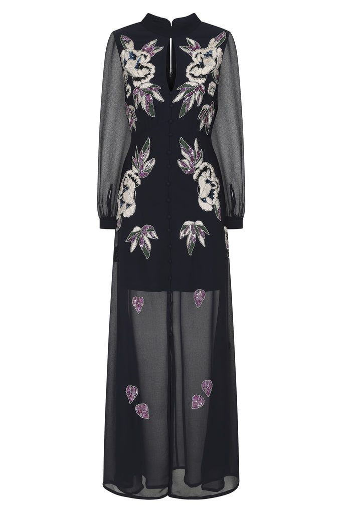 Godiva Mandarin Collar Embellished Maxi Dress