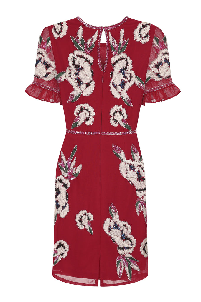 Frock and Frill Ginny Persian Red Frill Sleeve Embellished and Embroidered Mini Dress