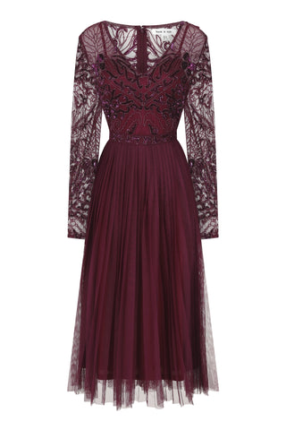 Griselda Lace Top Embellished Dress With Pleated Skirt