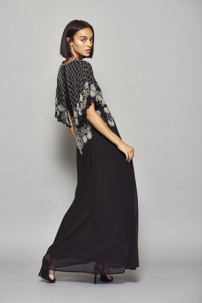 Frock and Frill Hava Black Embellished Cape Sleeve Maxi Dress