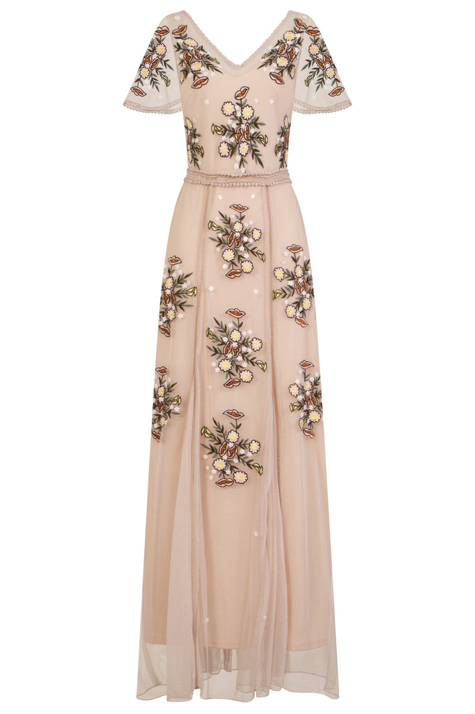 Clea Embellished Cap Sleeve Maxi Dress