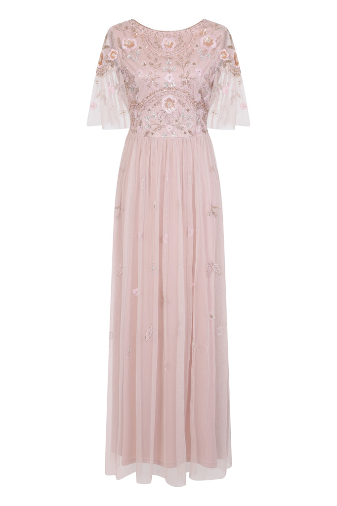 Pale pink floral dress for prom with beaded embellishment