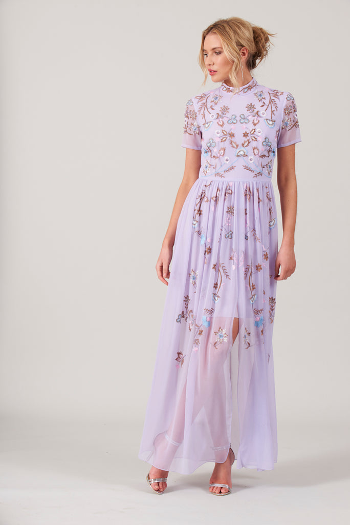 Cambrie Embroidered Stand Collar Maxi Dress