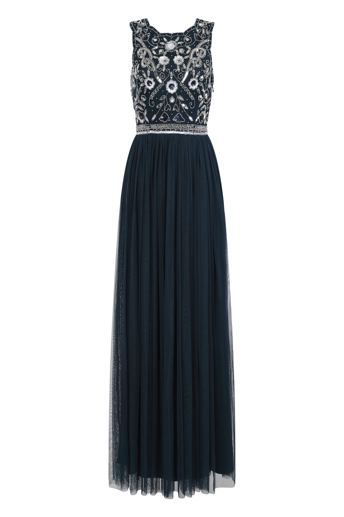 Clelia Navy Embellished Bodice Full Mesh Skirt Maxi Dress