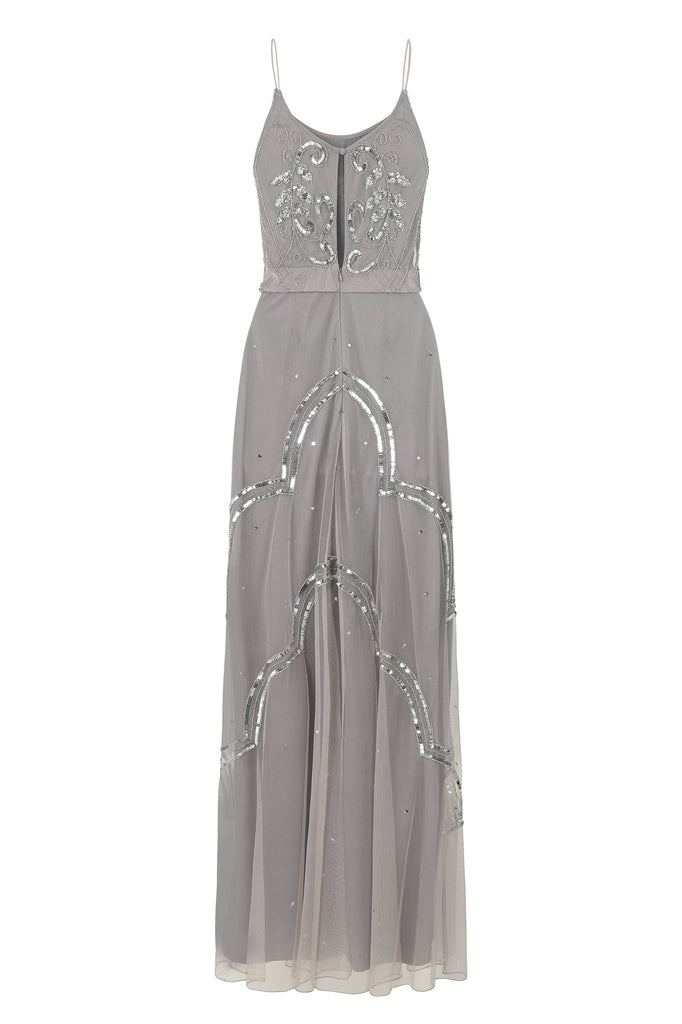 Carys Grey 2 In 1 Embellished Maxi Dress