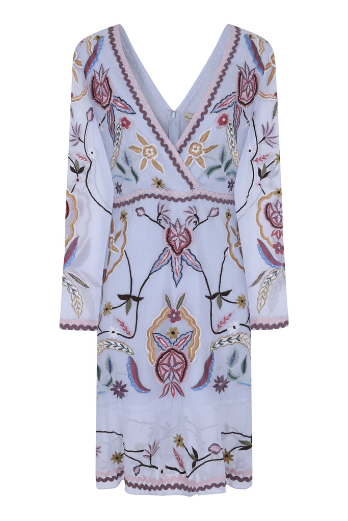 Flower Embroidered Wrap Front Dress