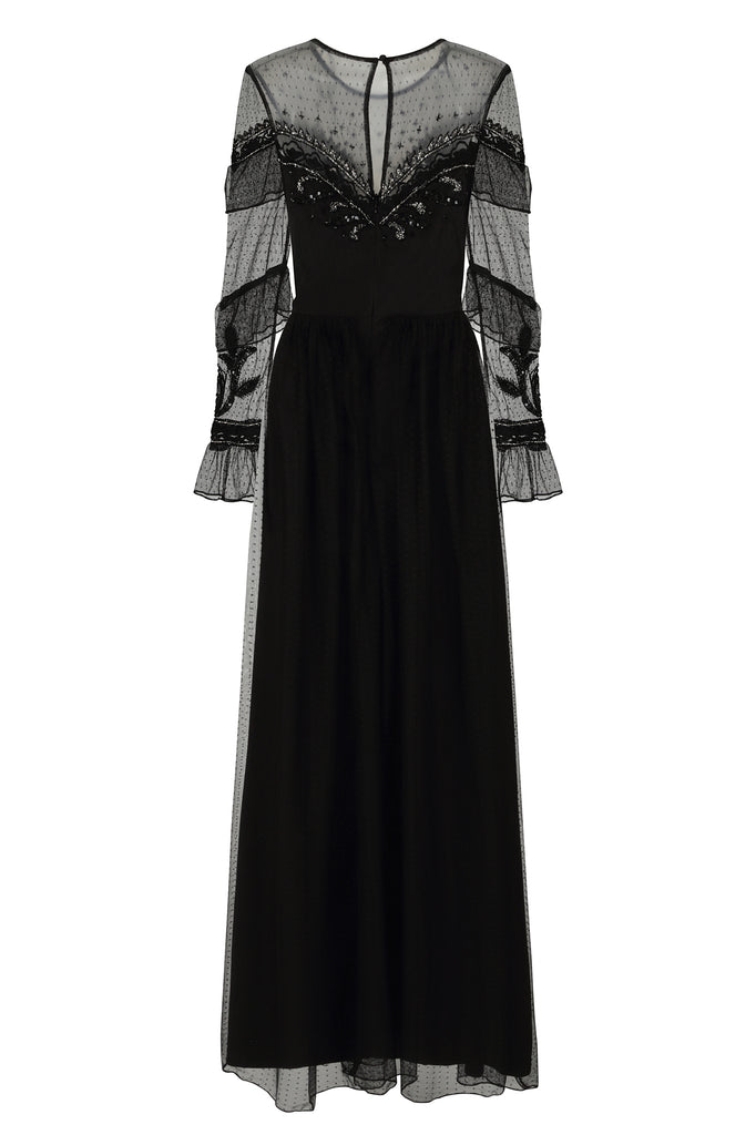 Frock and Frill Dusty Black Long Sleeve Maxi Dress with Polka Dot Mesh and Frilled Detailing