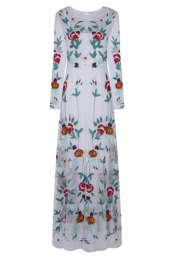 Frock and Frill Fabiola White Long Sleeve Floral Embroidered Maxi Dress