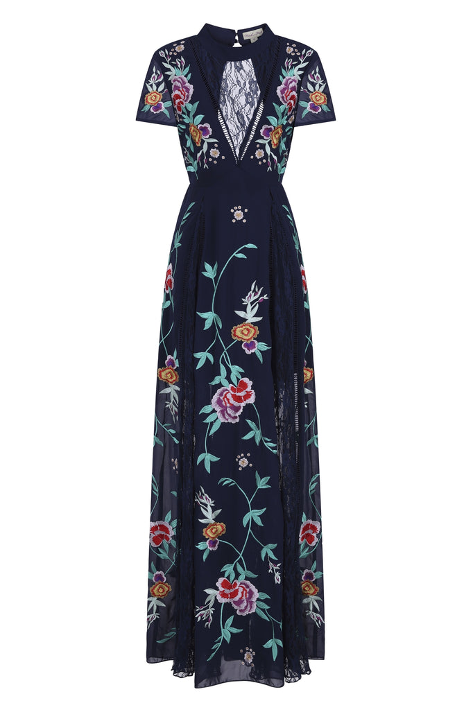 Gypsy Embroidered Floral Lace Front Maxi