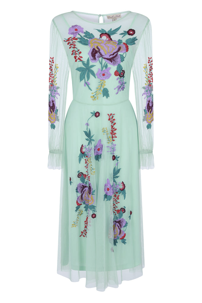Fayna Sheer Floral Long Sleeve Midi