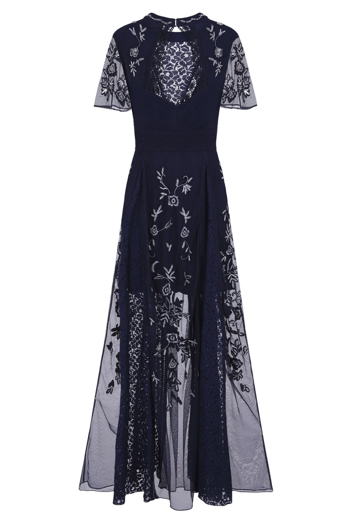 Farfalla Embroidered Lace Front Maxi Dress