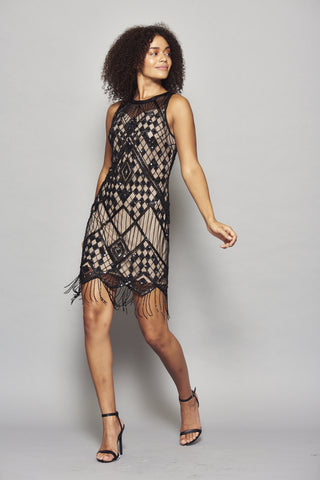 Hilma Embellished Fringed Flapper Dress