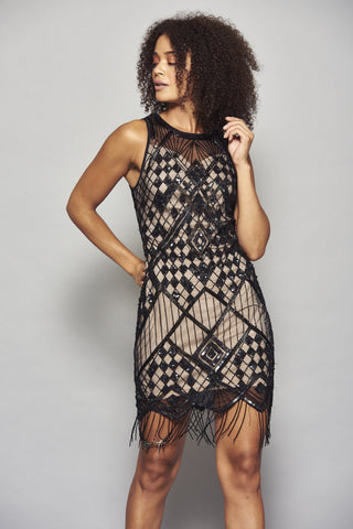 Frock and Frill Hilma Black and Nude Embellished Fringed Flapper Dress