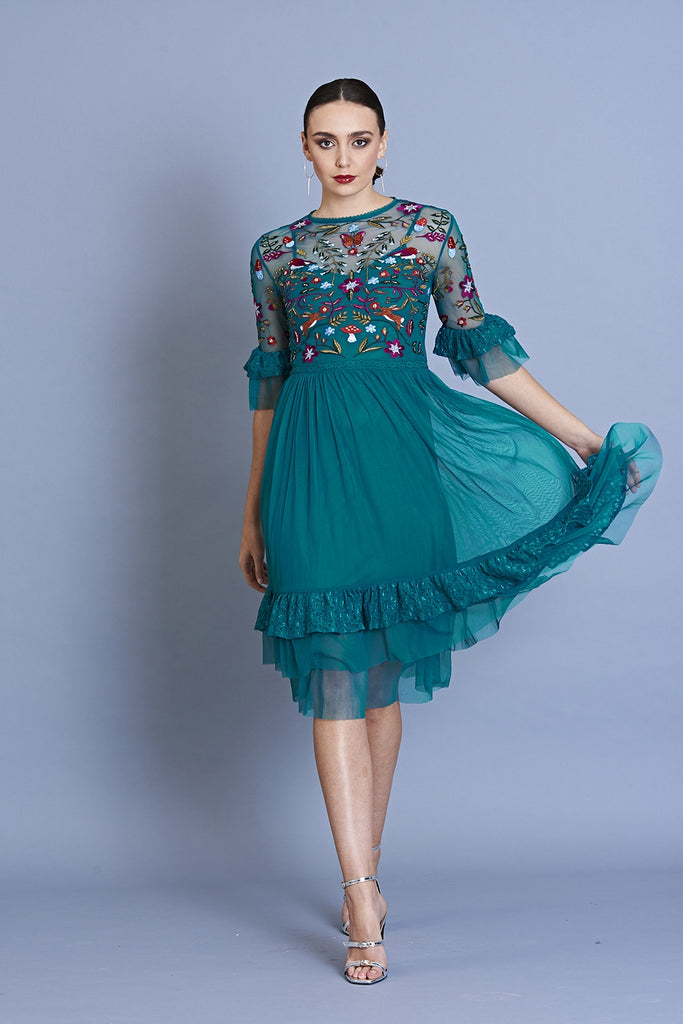 Gretel Embroidered Dress With Ruffle Hem