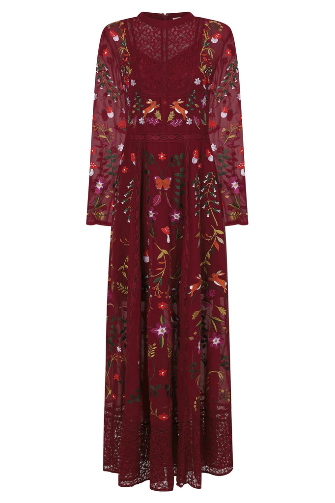 Gryffyn Forest Animals Embroidered Lace Maxi