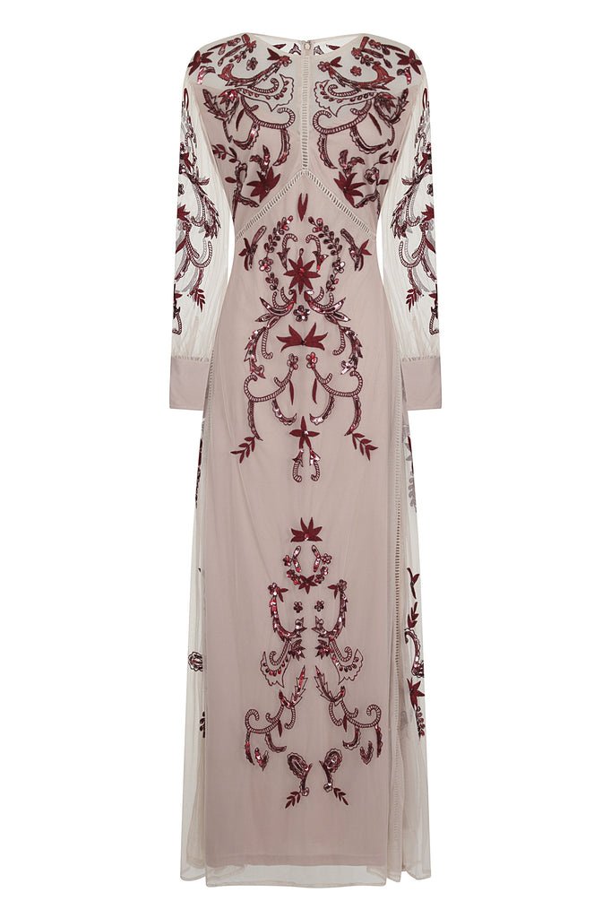 Hazel Embroidered Long Sleeve Maxi Dress