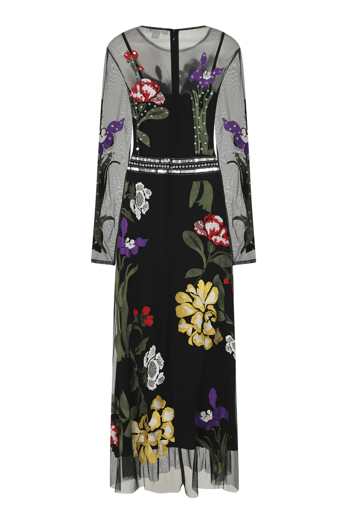 Hedy Long Sleeve Embroidered Maxi Dress