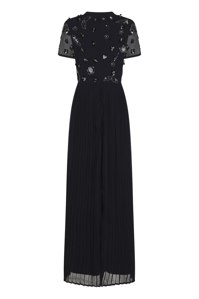 Helen Short Sleeve Embellished Pleated Maxi
