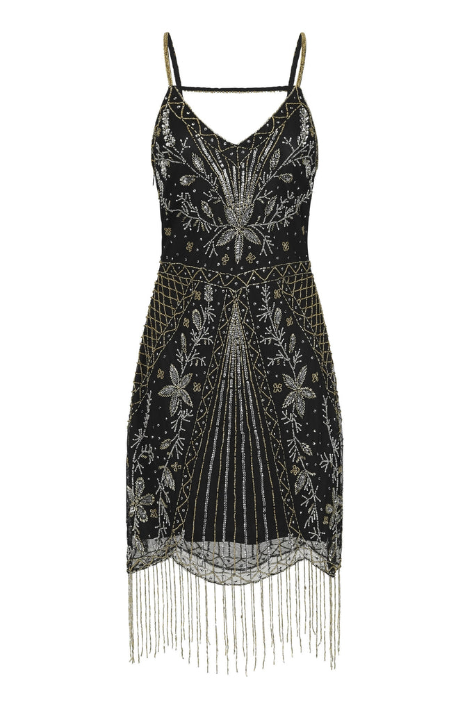 Haydyn Embellished V Neck Fringed Flapper Dress