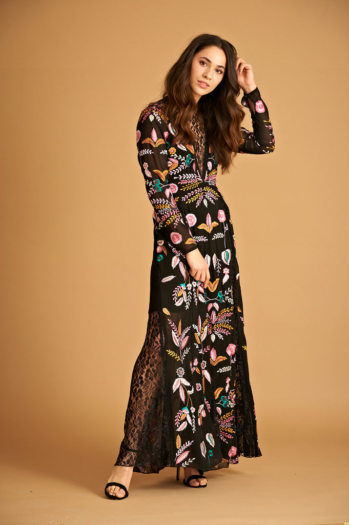 Frock and Frill Bellina Black Embroidered Long Sleeve Maxi Dress with Lace Panels