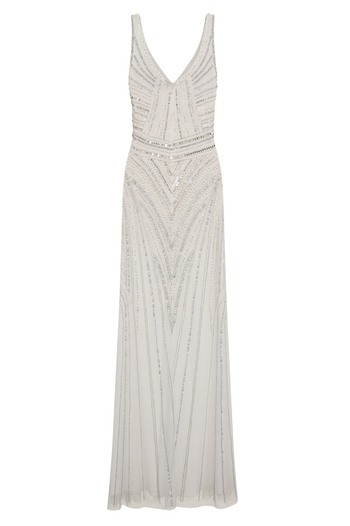 Teona Sequin White Maxi Dress
